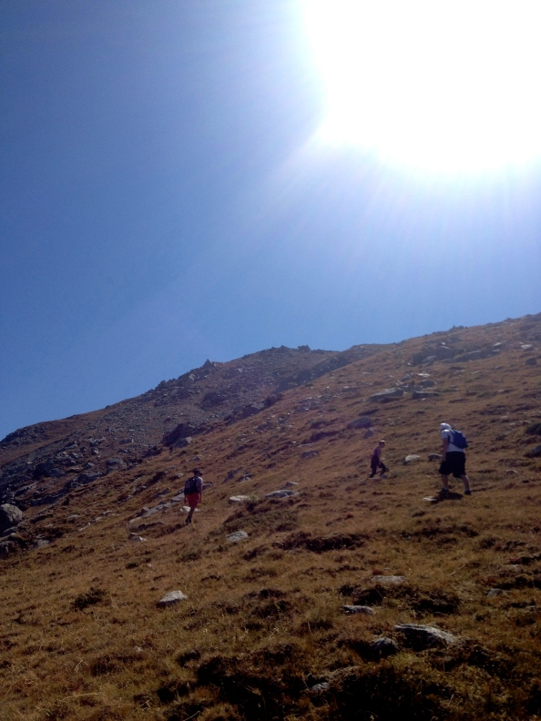 Looking up the hill, the false summit at the top of the photo