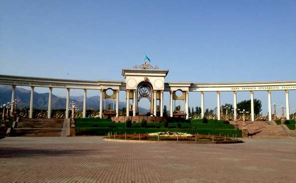 The Presidential Gate makes for one of the finer bus stops in Almaty