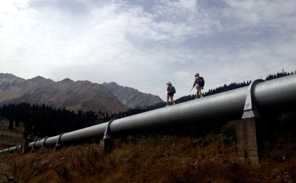 We opted for the road, they opted to walk on the pipe. To each their own.