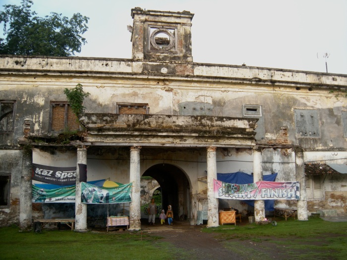 Entrance from inside the courtyard. Notice the motocross banners?