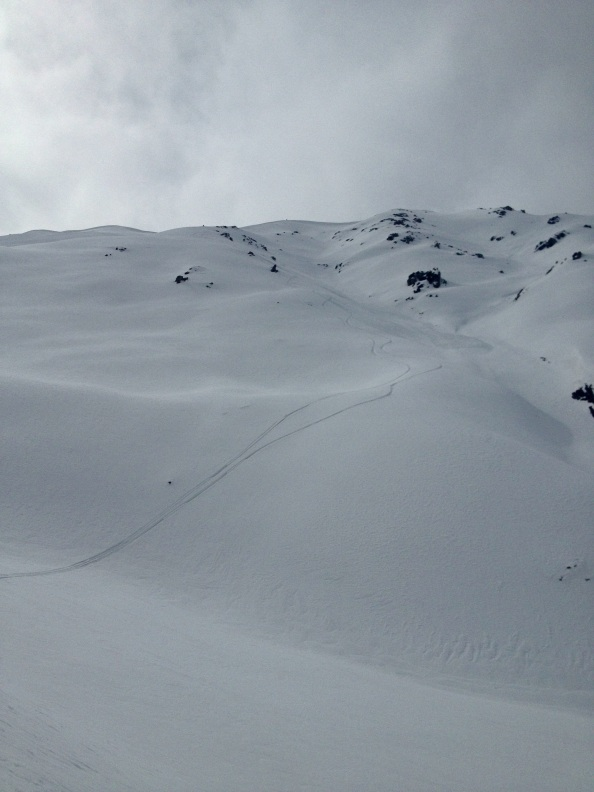 Looking up at Yurtsee, the last run on the last day