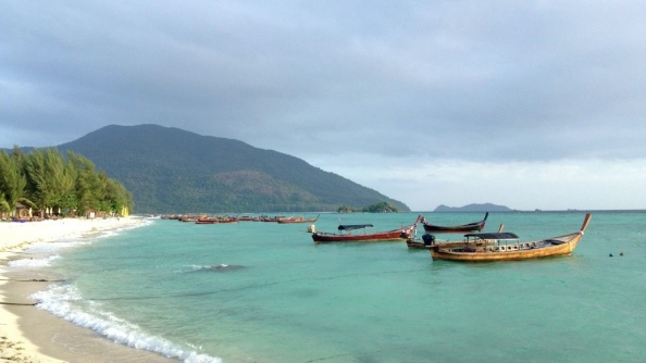 Blue water, Colorful Boats