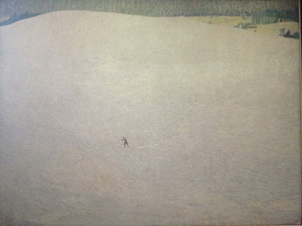Skier on snow that was made of incredible brushstrokes, hard to see in the picture