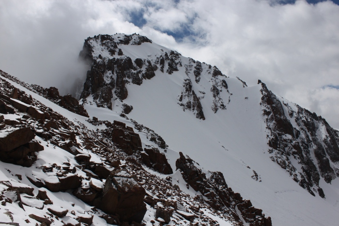 Another view of the Northwest Face. My plan was to ski the far ridge, downclimb a few rocks, and then ski the first A-shaped chute to the face below. Photo curtesy of my buddy Matt