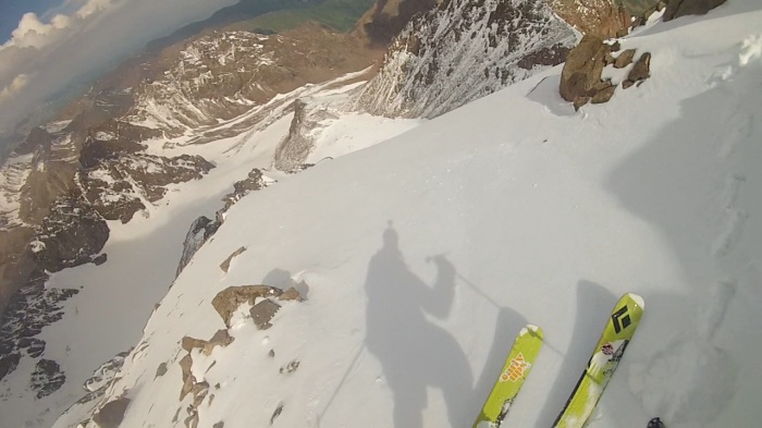 Dropping in off the summit block