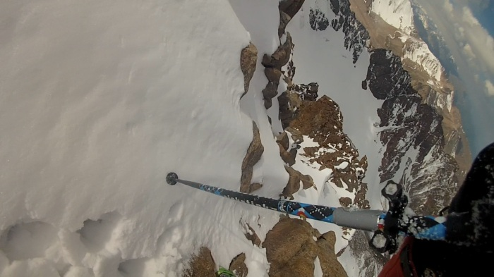 The Short Downclimb. My pole is blocking the best snow to get down, fairly simple and in my comfort zone.