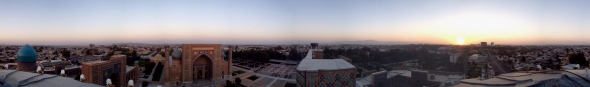 Sunset panorama from a minaret tower. For an interactive version, click on it.