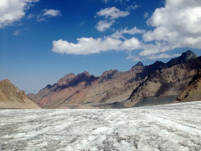 Looking north on the glacier towards Komsomol, Pioneer, Amangeldi and others
