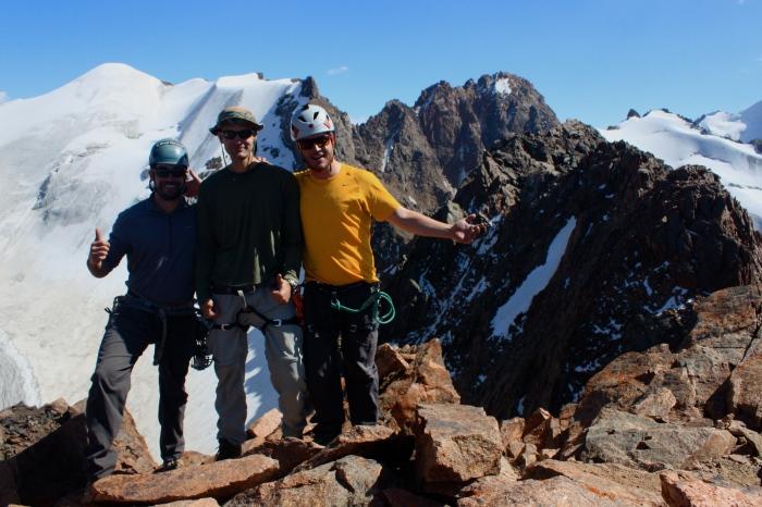 The Crew on Pioneer with Teacher Peak behind