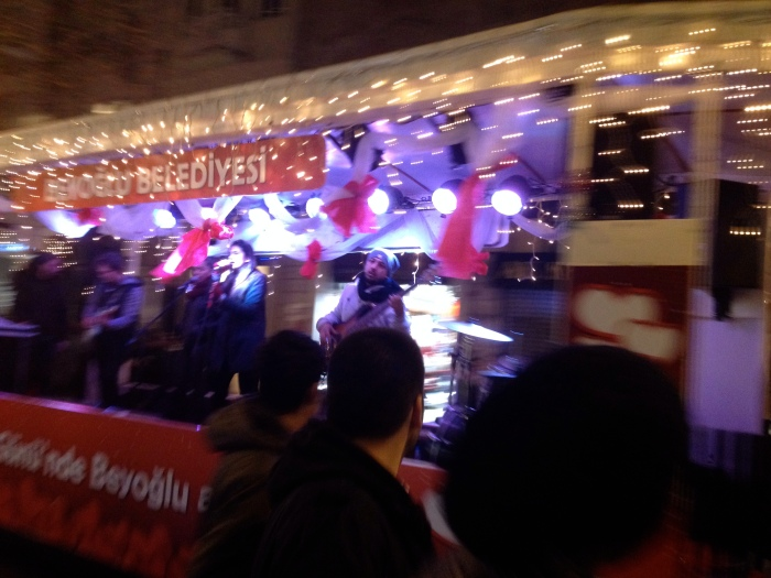Band playing on the Istiklal Avenue Trolley