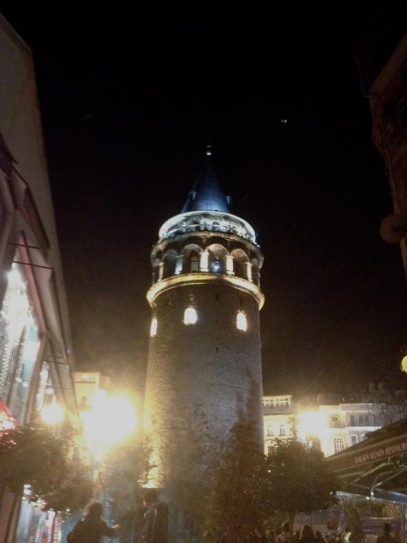 The Galata Tower at night