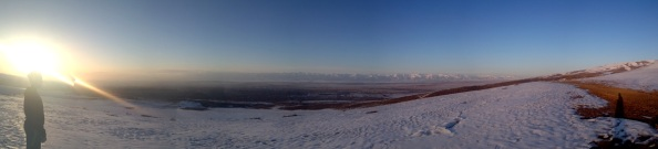 Panorama from the top of the hill above Karakol. For an interactive version of this photo, click on it.