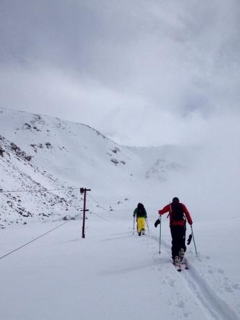 Howard (right) and Zack starting off towards Peak Touristov