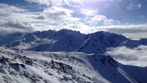 View from the top of the line on day 1. Slightly different mountains than the Rockies!