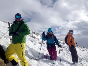 Zack, Anya and Eric preparing to ski the first day's route
