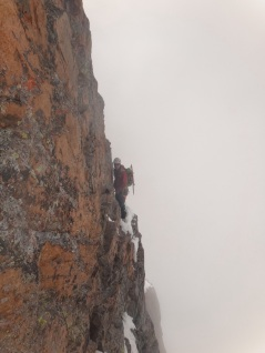 Your Author, negotiating the traverse (clipped in)