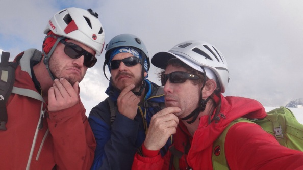 Three Thinking Dudes on the summit of Peak Karlytau, also known as the Snow Dome