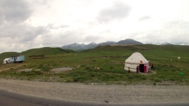 Yurts along the road in the Suusamyr Valley