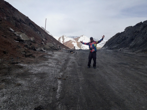 Your author at the top of Ak-Baital Pass, surrounded by dirt but the technicolor dream hoody in full effect