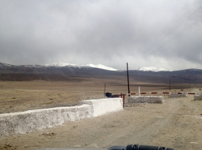 Khargush Military Checkpoint. Also our first good look at Afghanistan, as the Pamir River is the border.