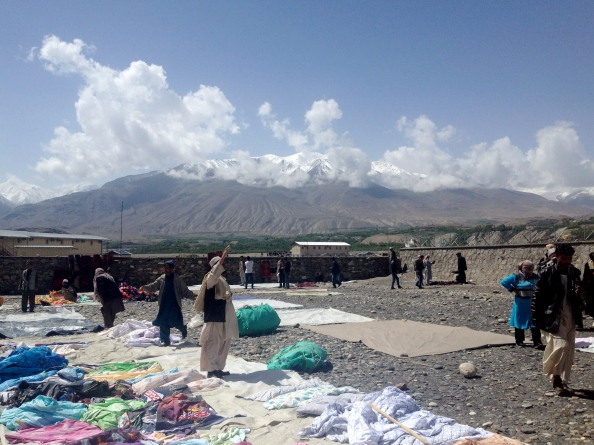 I couldn't help but notice the fantastic mountains of Afghanistan as the bazaar was being set up