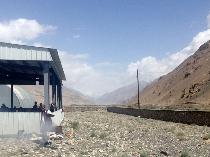 The Lone Shashlyk Cook, with the road beyond behind