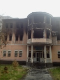 Burnt out government building in Khorog, from the riots two weeks before I arrived.