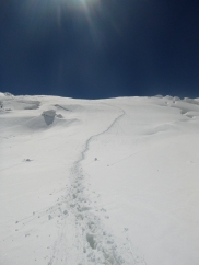 A better view of the first hard climb past Camp 1