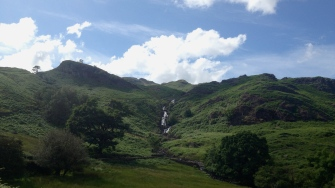 Waterfall and greenery on the way to Easedale Tarn