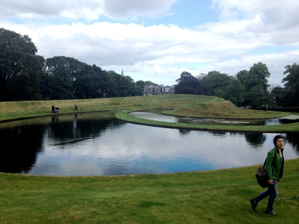 Mack and some ponds outside of the Scottish Museum of Modern Art