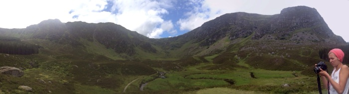 Panorama of Corrie Fee with Vika hard at work with her nicer camera. For an interactive version of this photo, click on it