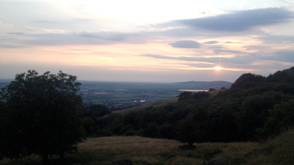 Sunset from the Mendip Hills above Draycott Village, looking towards Cheddar Resevoir
