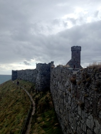 Coastal wall of Peel Castle, on the west side of the Isle of Man