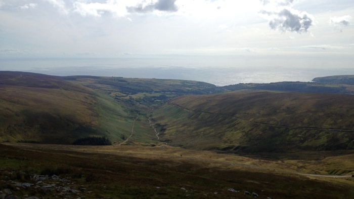 Looking towards the Kingdom of England, and the complete trail we followed from Laxey